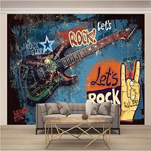 Papel Pintado Mural Graffiti Guitarra Rock Música Papel...