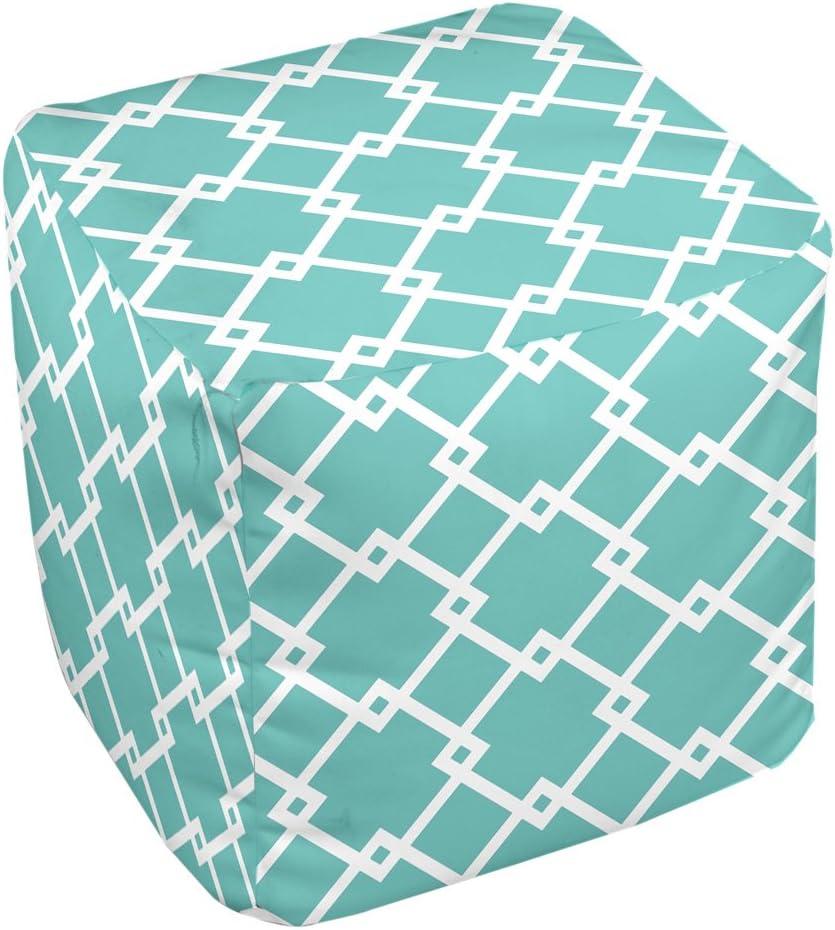 E by design FG-N10-Jade_White-18 Geometric Pouf