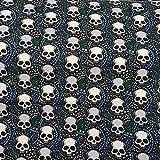 French Terry, Meterware ab 25 cm - mit Skull, Totenkopf -