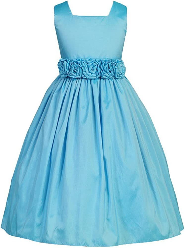 Sweet Kids Little Girls' Sleeveless Rolled Flower Waistband Flower Girl Dress