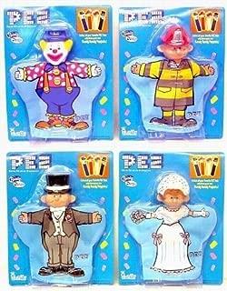 Set of 4 PEZ Hand Puppets Bride Groom Clown Fireman