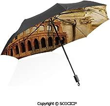 SCOCICI Folding Umbrella Windproof Nostalgic Polka Dots Pattern with Large Round Circles Minimalist Sun Protection with Black Glue Anti UV Coating Travel Umbrella