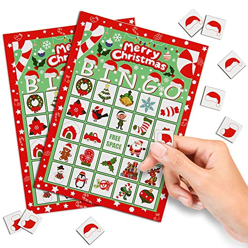 CCINEE Christmas Bingo Game for Kids,Xmas Bingo cards for Adults Large Group Activities Party Favor Supplies,32 Players