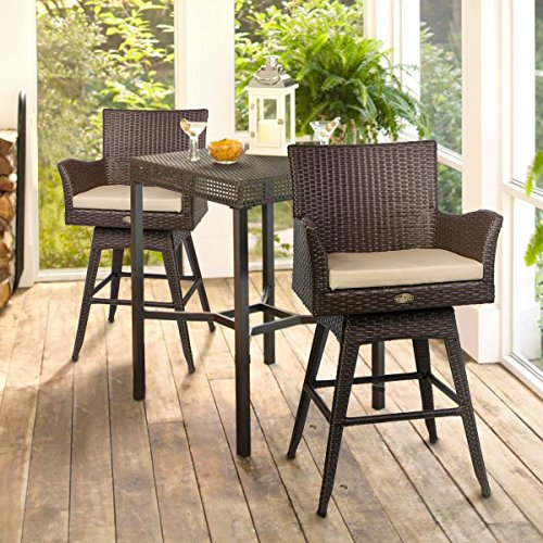 Barton Outdoor Patio Swivel Bar Stool Armrest with Footrest Rattan Crawford Sunbrella Weather-Resistant Fabric Cushion (Set of 2)
