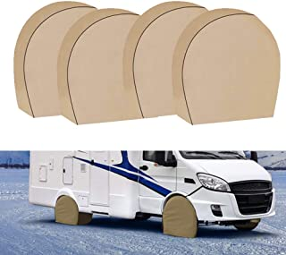 Tire Covers for RV Wheel Set of 4 Heavy Duty 600D Oxford Motorhome Wheel Covers, Waterproof PVC Coating Tire Protectors fo...