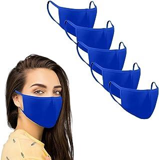 KUNSTIFY Stoffmaske farbig Mund Nasen Schutz Behelfsmasken 5 Stück waschbar wiederverwendbar schwarz Baumwolle Damen Herren Tröpchen Schutz Staub resistent gegen Speichel, zum Bügeln Staubschutzmaske