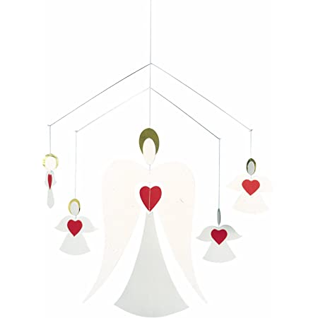 Angel Family Hanging Mobile - 14 Inches - White and Red