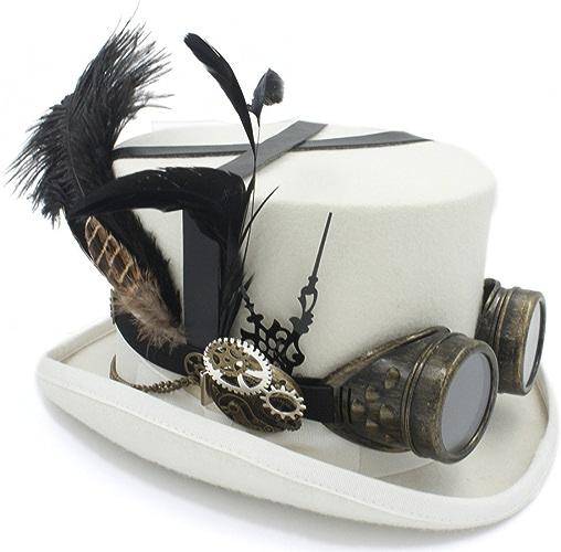 Ying xinguang Laine DIY Fedora Chapeau Steampunk Top Hat pour Femmes Hommes Chapeau Chapellerie Steampunk Lunettes
