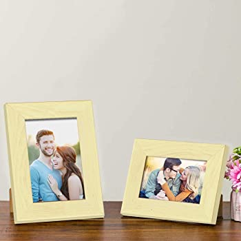 "Art Street Customize Table Photo Frame/Picture Frame for Desk (Photo Size 5""X7"" & 4""X6"") Photo Gift/Love Gift - (Set of 2- Natural)"