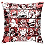 LAKILAN My Hero Academia Collage Anime Kirishima Funda De Almohada Cojín Funda De Almohada Sofá Decoración del Hogar