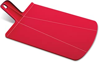 Joseph Joseph NSR016SW Chop2Pot Foldable Plastic Cutting Board 15-inch x 8.75-inch Chopping Board Kitchen Prep Mat with Non-Slip Feet 4-inch Handle Dishwasher Safe, Small, Red