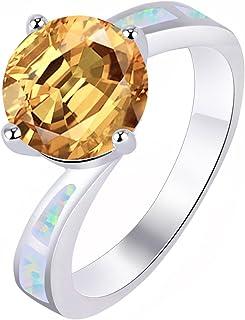 Anelli KELITCH per donna, ragazza, argento sterling 925, placcato in argento a doppia faccia, anello aperto opale blu 2F-8