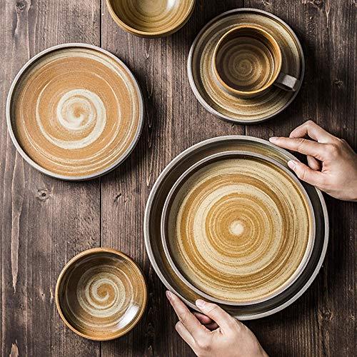 XBR De vajilla, vajilla de cerámica, vajilla de gres Retro de Estilo japonés de 26 Piezas |Plato de Porcelana para bistec y Cuenco de Cereal para reuniones Familiares