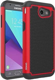 OEAGO Galaxy J3 Emerge / J3 2017 / J3 Prime / J3 Eclipse / J3 Luna Pro / J3 Mission/Sol 2 / Amp Prime 2 / Express Prime 2 Case, Hybrid Dual Layer Defender Protective Case Cover (Red)