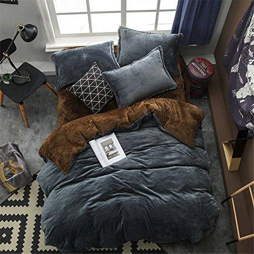 BB.er Flannel ensemble de literie l'automne et l'hiver épais chaud loi velours couleur unie textile de maison literie collection, gris foncé foncé brun, 220 * 240cm