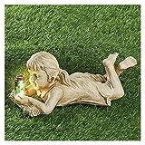 Junge und Mädchen Figuren, Gartenfigur mit Solarleuchte, Solar Gartenbeleuchtung für Terrasse, Vorgarten, Garten Dekoration (Mädchen)