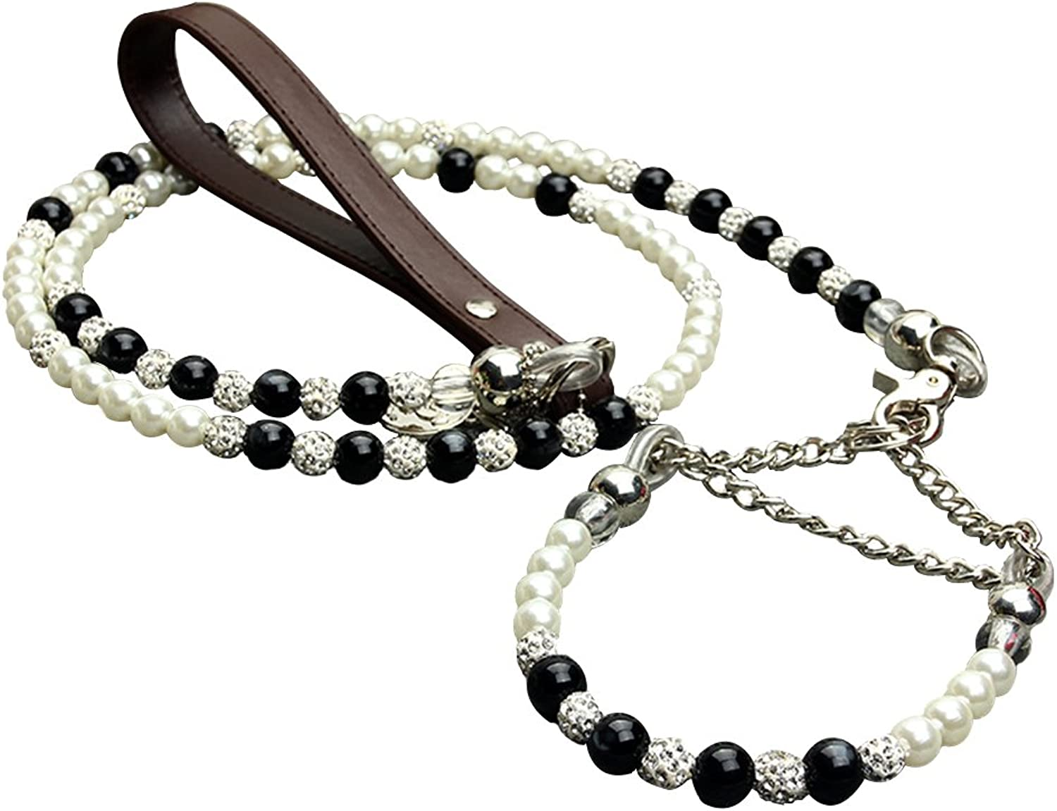 Creation Core Fashion Pearl Adjustable Pet Collar and Leash Set for Small Breeds Puppy Cat Necklace 4 Feet Long Dog Leash (L)
