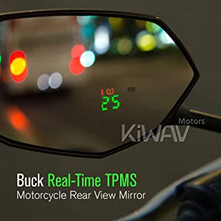 KiWAV Motorcycle TPMS Internal Sensor + Rearview Mirror Built-in Real-time Display Tire Pressure Monitor Metric M10/M8