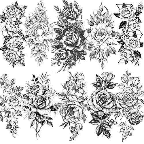 VANTATY 10 Sheets 3D Big Rose Peony Flower Girls Temporary Tattoos For Women Waterproof Black Tattoo Stickers 3D Blossom Lady Shoulder Tatoos Leaf DIY Costom Sexy Arm Chains Pattern