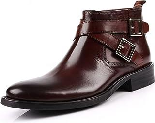[ウォウフォ] 商標登録079889 メンズブーツ レザー ビジネスシューズ 本革 サイドジップ ラウンド プレーントゥ 革靴 紳士靴 ウエスタンブーツ リング ダブルモンクストラップ ショートブーツ (ブラウン 833-569
