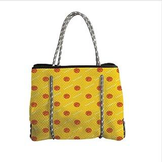 iPrint Neoprene Multipurpose Beach Bag Tote Bags,Basketball,Athletics League Theme Balls on Yellow Backdrop Goal Fun Game Match Decorative,Yellow Orange White,Women Casual Handbag Tote Bags