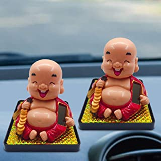 Rubyyouhe8 Decoration,DIY Ornament,Smiling Buddha Solar Power Flip Flap Pot Swing Toy Car Home Decoration OrnamentDisplay Model