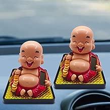 opOpb213IL Solar Powered Car Ornament,Smiling Buddha Solar Power Flip Flap Pot Swing Toy Car Home Decoration Ornament