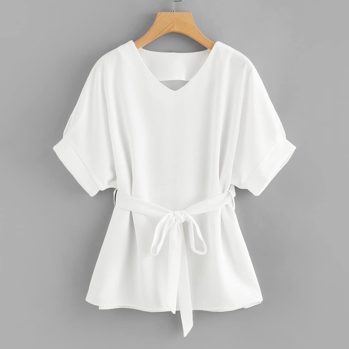 1900 -1910s Edwardian Fashion, Clothing & Costumes Milumia Womens Casual V Neckline Short Sleeve Self Tie Dressy Work Blouse Tunic Tops  AT vintagedancer.com