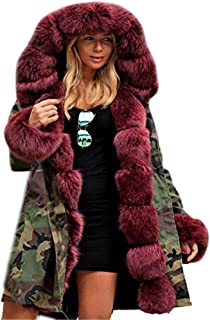 Women's Parka Hooded Coat Camo Faux Fur Fishtail Winter Outwear Overcoat