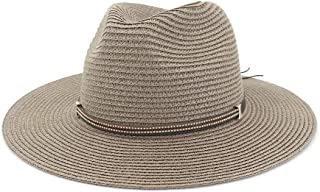 LIWENCUI Women Straw Panama Hat with Wide Brim for Female Elegant Summer Sun Fedora Hat British Style Beach Hat (Color : Drak Gray, Size : 56-58CM)