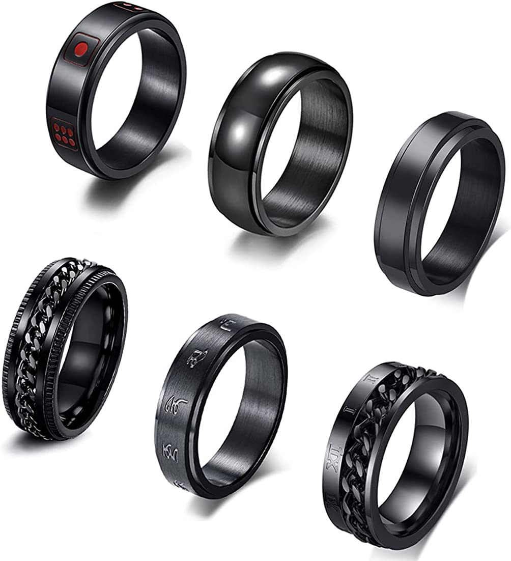 CASDAN 6Pcs Black Spinner Ring for Stainless 70% OFF Outlet Women Fid Oakland Mall Steel Men