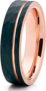 6mm,Black Tungsten Ring,Rose Gold Tungsten Wedding Ring,Hammered Ring,Anniversary