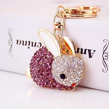 Red Jzcky Shzrp Elegant Owl Shape Crystal Rhinestone Keychain Key Chain Sparkling Key Ring Charm Purse Pendant Handbag Bag Decoration Holiday Gift