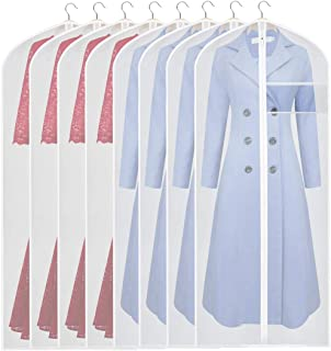 KEEGH Hanging Garment Bag Suit Long Dress Protector Bags for Clothing Closet Storage Full Zipper (Set of 8) PEVA Moth-Proof Lightweight Breathable Clothes Dust Cover 60 inches