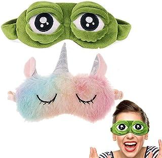 Schneespitze 2 Piezas Máscara del sueño,Máscara de Ojo,Dibujos Animados Tapa del Ojo,Antifaz para Dormir Anti-Luz 3D Ojo de la Rana Cubierta Unicornio de Dibujos Animados Máscara