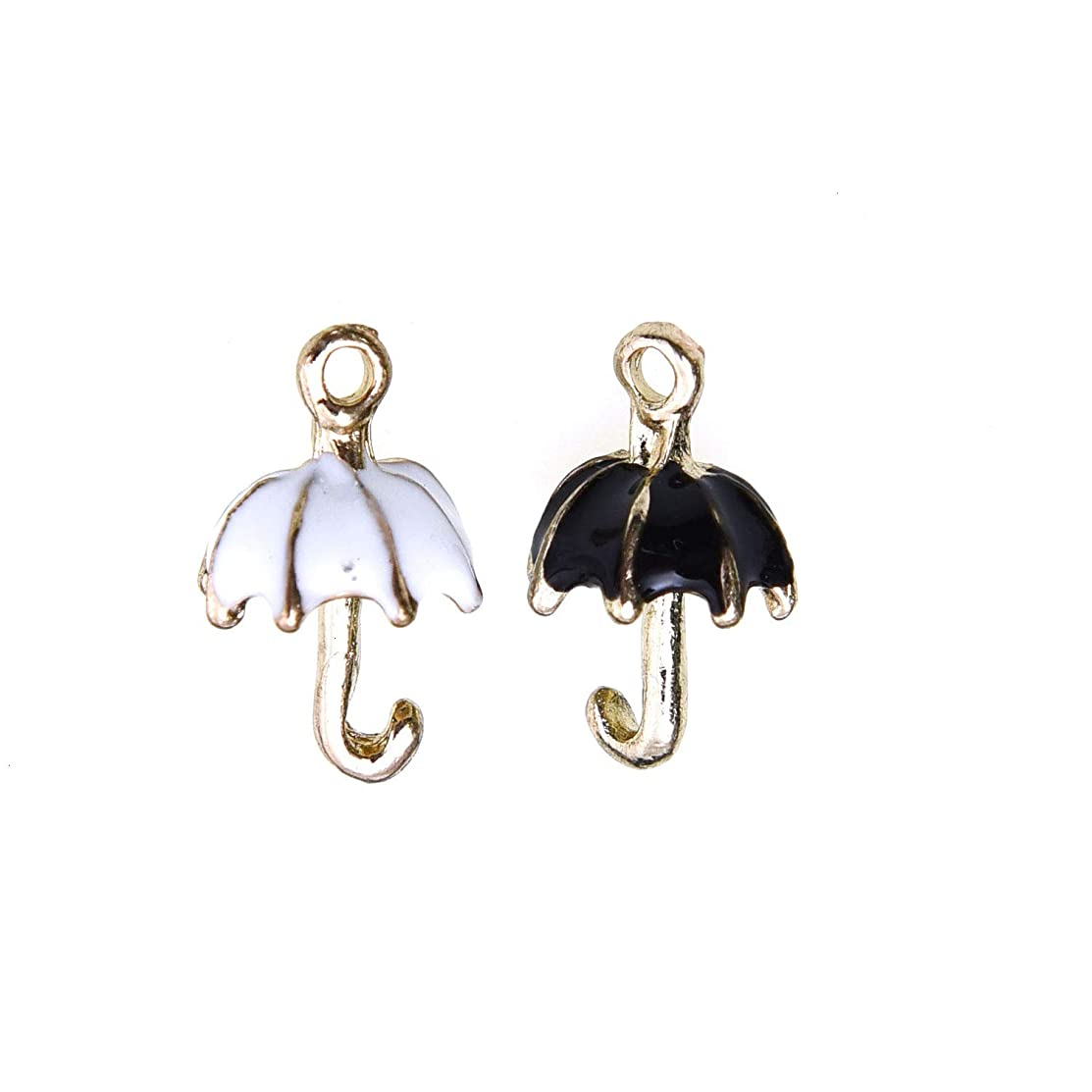 Monrocco 18PCS Metal Enamel Umbrella Charm Gold Plated Enamel Pendant Charms Jewelry Findings - Black and White, 20 x 10mm