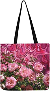 Roses Love Red Pink Romantic Blossom Bloom Canvas Tote Handbag Shoulder Bag Crossbody Bags Purses For Men And Women Shopping Tote