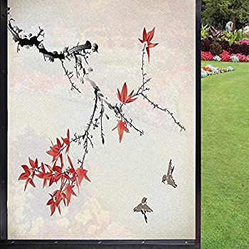 Japanese Window Film Window Film Privacy,Cherry Blossom Sakura Tree Branches Romantic Spring Themed Watercolor Picture Kitchen Decoration Decorative Static Cling Window Film,Coral Black 24  x 36