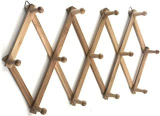 Azi Excellent Quality Bamboo Rack - Accordion Style Expandable Wall Mounted Rack - 13 Pegs/Hooks (2'' Long Pegs) for Hat C...