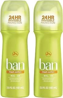 Ban Roll-On Antiperspirant Deodorant, Fresh Cotton, 3.5oz (Pack of 2)