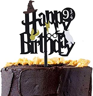 CaJaCa Glitter Black Harry Potter Inspired Happy Birthday Cake Topper Harry Potter Kids Theme Party Decorations