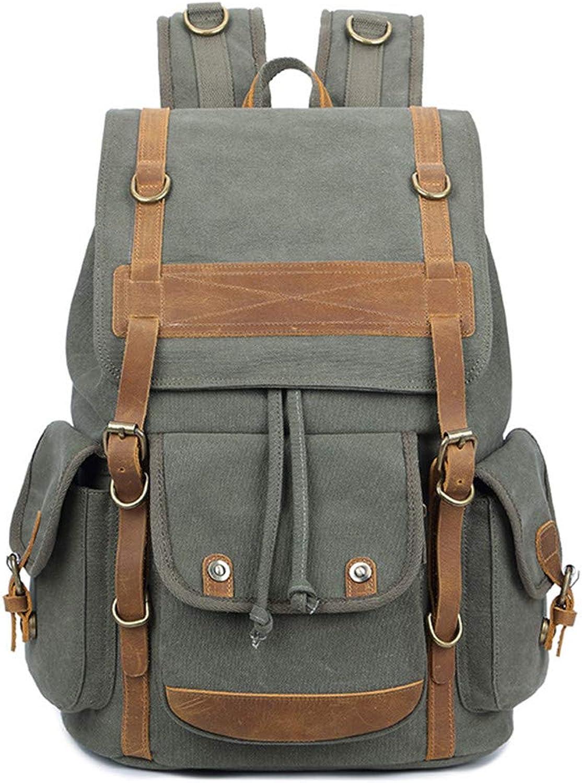 Vintage 15 Inch Laptop Backpack Canvas Men's Backpack Leisure Rucksack Travel Large School Bag Bagpack Men Travel Bag Army Green