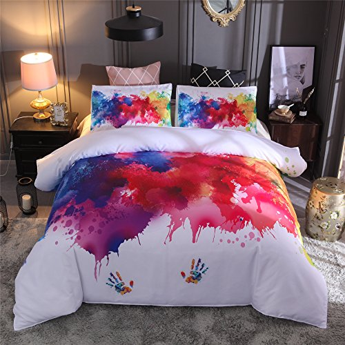 Meeting Story 3Pcs 3D Abstract Printed Duvet Cover Set, Vibrant Stains of Watercolor Paint Splatters Bedding Set(Queen, Colorful Printed)