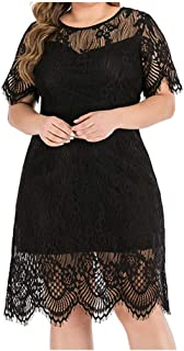 Women's O-Neck Lace Splice Perspective Midi Dress - Sexy Ladies Solid Color Party Evening Dress Plus Size