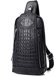 Men's Sing Bag,Leather Crocodile Pattern Cross Body Backpack Shoulder Bags Casual Chest Bag Travel Hiking Daypacks
