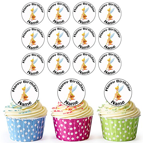 Tinkerbell (Peter Pan) Disney – 24 decoraciones comestibles personalizables para magdalenas, decoración para tartas de cumpleaños – Círculos precortados fáciles