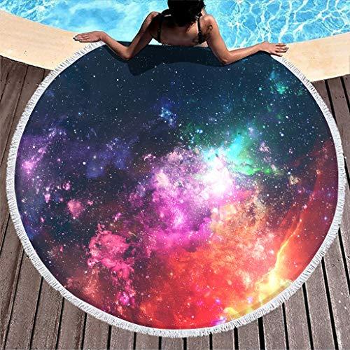 O3XEQ-8 Galaxy - Toalla de baño de microfibra, muy absorbente, para exteriores, 59 pulgadas, para playa y piscina, talla única, color blanco