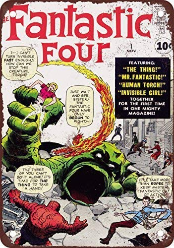 Tin Sign Classic Movie Fantastic Four Poster Bar Club Family Cinema People Cave Retro Wall Sign 12x16 Inches