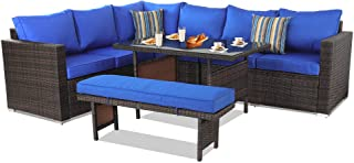 Patio Furniture Sets 5PCS Brown PE Rattan Sofa Set with Royal Blue Cushion Garden Rattan Seating Couch Sectional with Bench Conversation Sofas