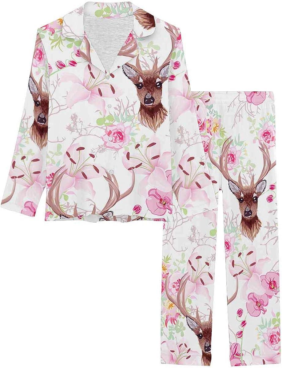 List price InterestPrint Women's Sleepwear Easy-to-use Button Down Nightwear Long with